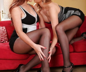 Sapphic females Lexi Lowe and Emma Leigh fantastic bare..