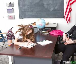 Teenage schoolgirl Rebel Lynn deepthroating teacher shaft..