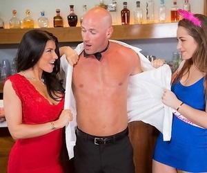 Dani Daniels pleasuring Romi Rain and her muscular beau