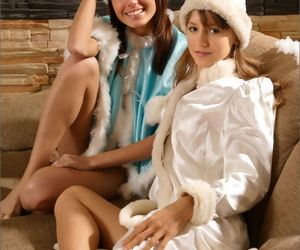 2 naughty lil' snow bunnies smooching and spandex each..