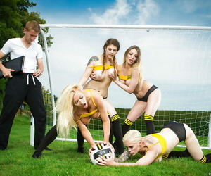 European soccer moms deliver reverse group sex outdoors in..