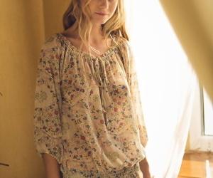 Lovely ash-blonde teen Nancy A slips off her floral dress..