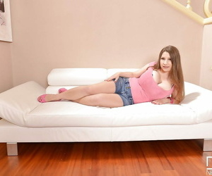 Busty ash-blonde chick Samanta Lily modelling completely..