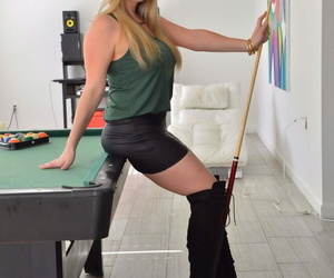 Stroking girl Danielle gushes her ballsack plug before..