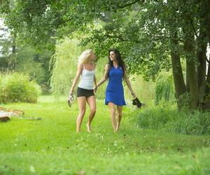 Teenager lesbians Eileen Sue & Naomi Nevena finger screw..