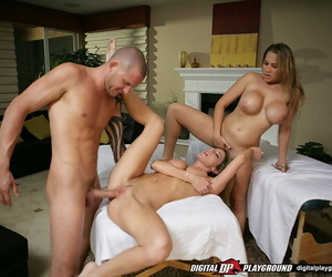 Well-stacked vixens take turns big-chested and screwing a..