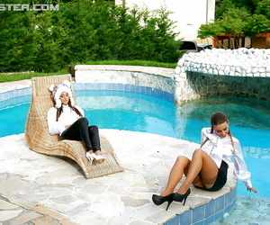 Nikky Thorne has some raw entirely dressed pool joy with..