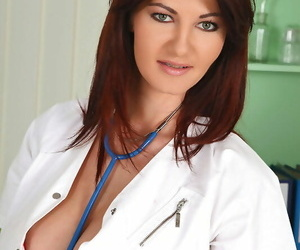 Lesbian doctor undoes her lab glaze while seducing a..