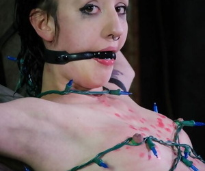 Naked female is confined and abased before compelled..