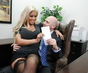 Chesty office honey in garter stockings Bridgette B fucked..