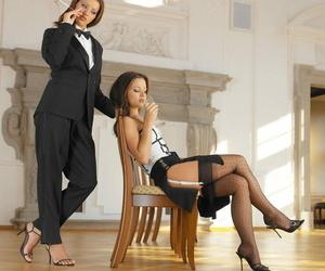 Elegant babe Angel Dark nails her sexy gf Jana Mrazkova..