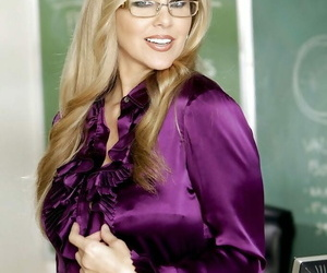 Provocative blond teacher in glasses Julia Ann undressing..