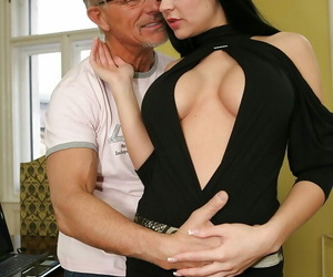 Anastasia Brill gives a deep throat and works with her..