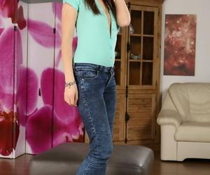 Sexy teenage woman Rebeca Kubi rails her dildo until she..