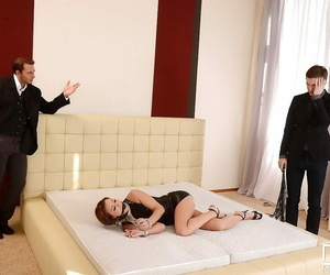 BDSM domme Alysa gets her nut sack torn in horny three-way..