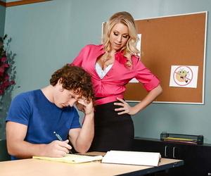 Blond teacher Katie Morgan seducing sex from student atop..