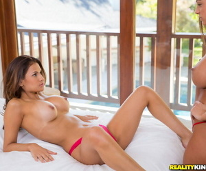 Handsome squealing Abigail Mac and Vanessa Veracruz are..