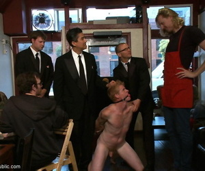 Slave gay gets tied and pounded by gang of gays in public..