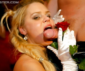 Seductive blond honeys getting jammed gonzo at the drunk..
