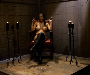 Huge breasted Isis String up fingers and toys naughty guy..