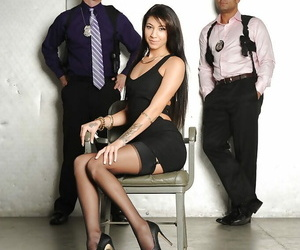 Latina in underwear Esmi Lee gets boned by 2 tall guys..