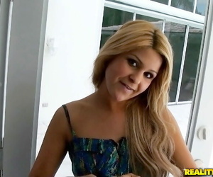 Light-haired solo girl Kendal Kenzie glides seized panties..