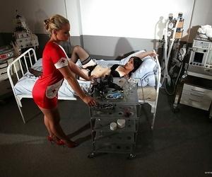 Kathia Nobili in doctors uniform is dominating her slave..