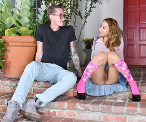 Cutie Stassi Sinclair bare-chested in pinkish knee socks..