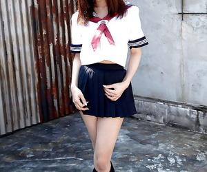 Redhead Asian stunner Ria Sakuragi unveiling fat knockers..