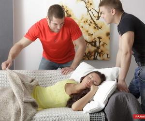 Small teenager deepthroats one of her boyfriends shaft..