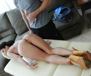 Enticing brunette honey Aleksa Nicole gets boned xxx after..