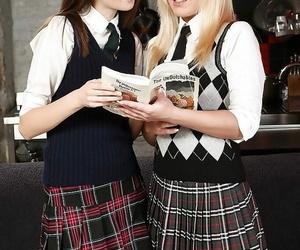 Teenager schoolgirl Vania kisses and taunts her lezzie..