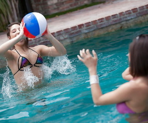 Superb pool play in sapphic episodes along buxomy teenager..