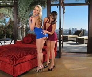 Long-legged lezzies eliminate short dresses before filthy..