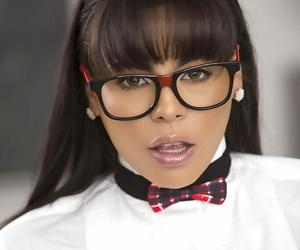 Glasses topped black-haired stunner Luna Starlet baring..