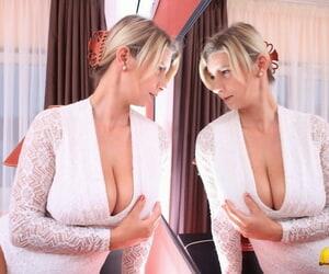 Blonde inexperienced Katerina Hartlova licks her stockings..