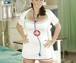 Bootylicious nurse Sophie Dee gliding off her uniform and..