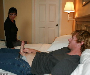 Smoking hot dark-haired Mummy in glasses jerking off a fat..