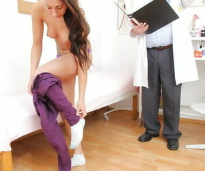 Sweetie-pie dark-haired Ell Storm gets suppository fright..