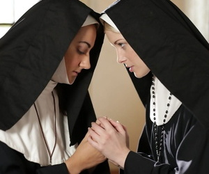 Youthfull nun goes topless and plunges hr tongue out to a..