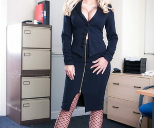 Blonde honey Candy Sexton heads from being fully clothed..