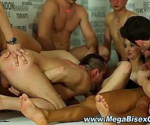 Bi group sluts suck and fuck