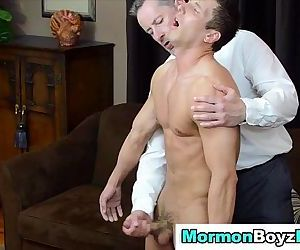 Spanked mormon elder cums