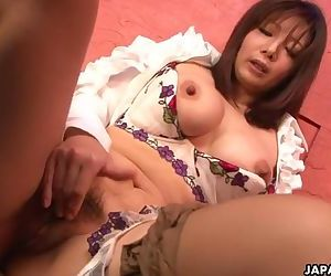Yummy Japanese babe plays with..
