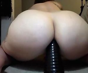 Big White Ass Rides Huge Toy