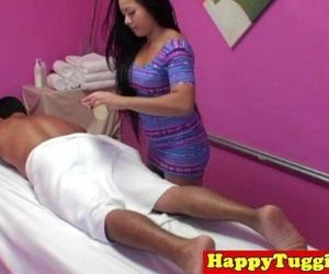 Inked asian handjob massage - 8..