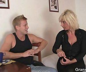 Blonde granny allows him drill..