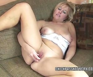 Busty housewife Lissa fucks her..