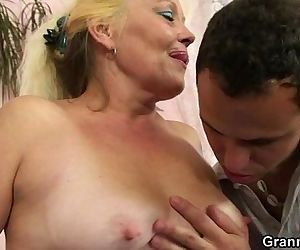 Blonde granny gets her hairy..