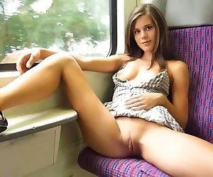 Flashing in public train